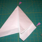 First fold of the quarter folded paper on 30° lines
