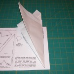 Final folded template on top of pattern template drawing