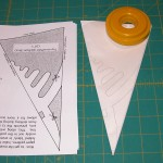 Traced paper template refolded, ready to be cut!
