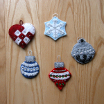 Embellished seasonal symbols - silver threads, Swarovski crystals, glass beads!