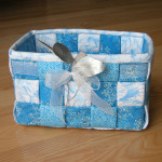 Blue batik woven fabric basket