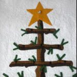 Yule Calendar upper tree and star with buttons for hanging ornaments and star