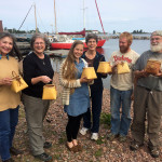 Our birch bark basket class with instructor on the right!