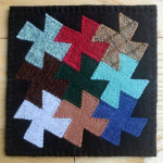 Wool 'mug rug' by Mary Ring, Prior Lake Quilter and DayStitcher