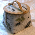 larger faux birch bark 'sewing' basket